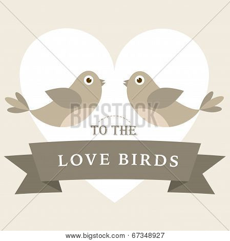 Flying love birds wedding card