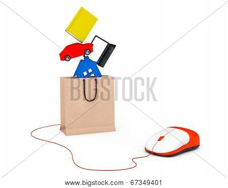 Purchase Concept.  Book, Laptop, Car And House Drop In Paper Bag Connected To Computer Mouse