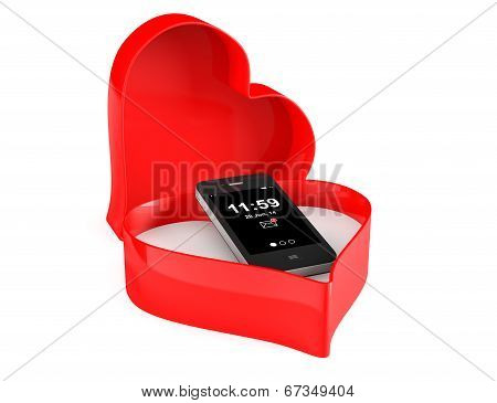 Mobile Phone In A Heart Valentine Box