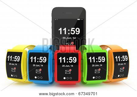 Big Conceptual Multicolour Smart Watches With Mobile Phone