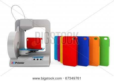 Technology Concept. Modern Home 3D Printer Print Multicolour Mobile Phone Covers