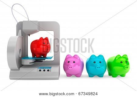 Technology Concept. Modern Home 3D Printer Print Multicolour Piggy Banks