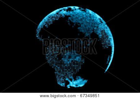 Abstract Blue Earth Globe Design