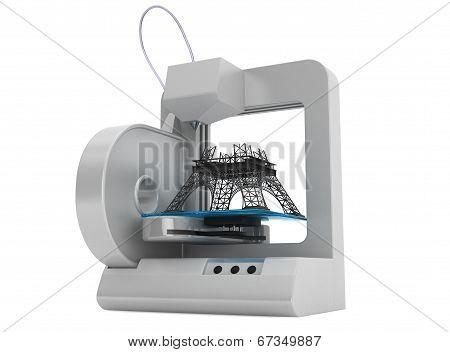3D Printer Build Eiffel Tower Model