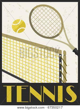 Tennis. Retro poster in flat design style.