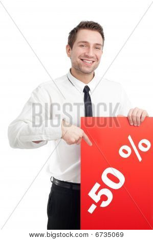 Young Businessman With Red Blank Sign