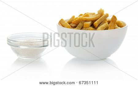 Croutons and salt into a bowl