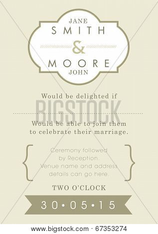 Wedding invitation gold ribbon theme