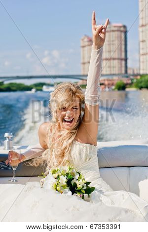 Happy Bride On A Boat Floats