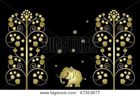 Elephant With Gold Tree, Thai Pattern