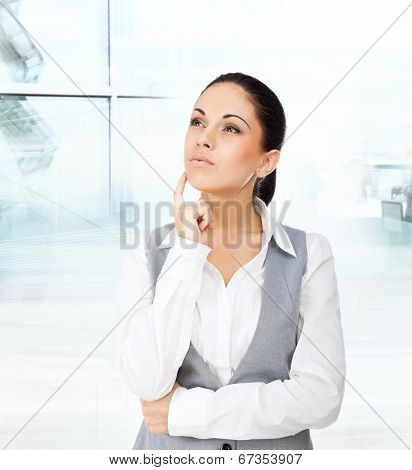 Businesswoman think looking up copy space
