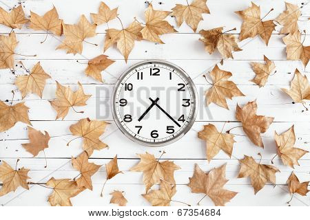Clock With Leaves