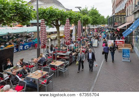 People Shopping At A  Market Of Zwolle In The Netherlands