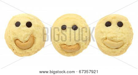Set Of Smiling Cookies Isolated On White