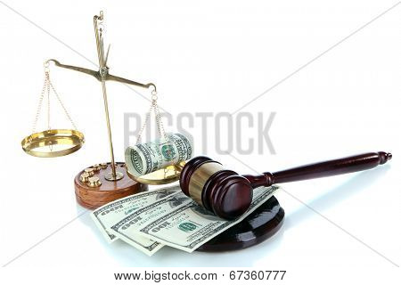 Gavel,scales and money isolated on white