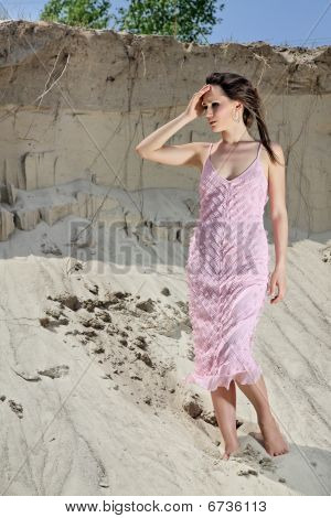 Lady In A Pink Scaly Sundress On Sand Quarry