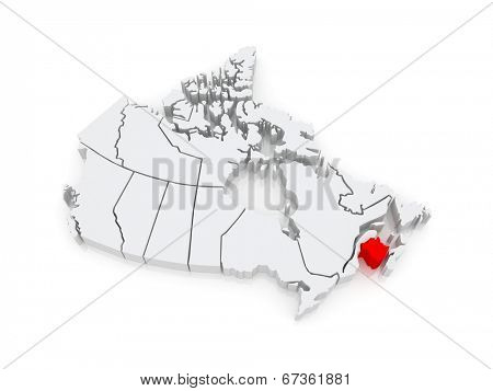 Map of New Brunswick. Canada. 3d