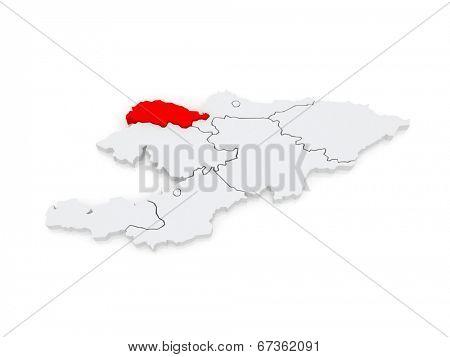 Map of Talas. Kyrgyzstan. 3d