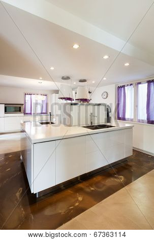 interior house, nice domestic kitchen, counter top view