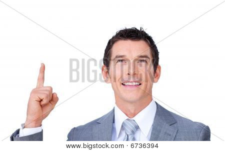 Positive Businessman Pointing Upward