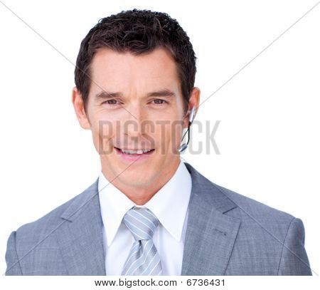 Charismatic Male Executive With Headset On