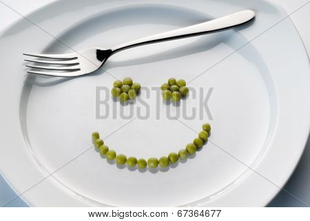 Plate With Smiley From Peas