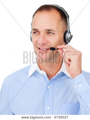 Mature Caucasian Businessman Using Headset