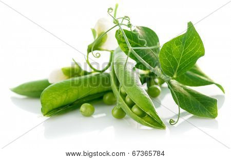Fresh green peas with leaf and flower. Isolated on white background