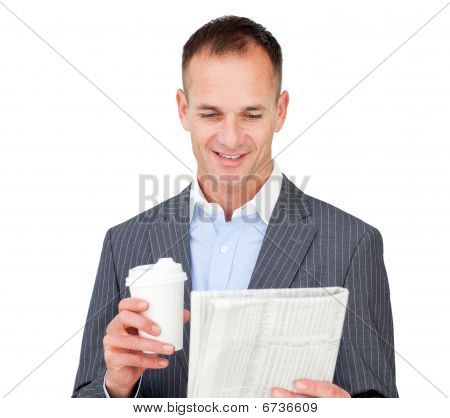 Attractive Businessman Holding A Drinking Cup