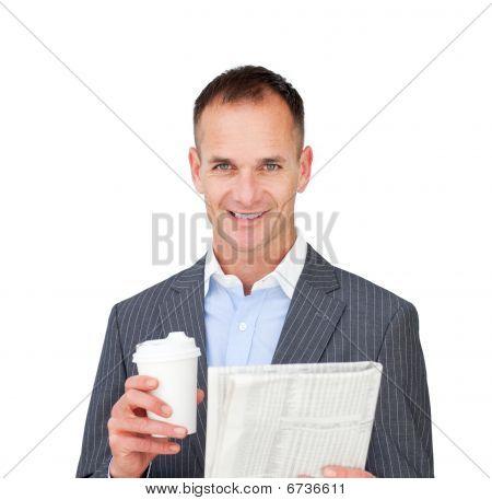 Assertive Businessman Reading A Newspaper