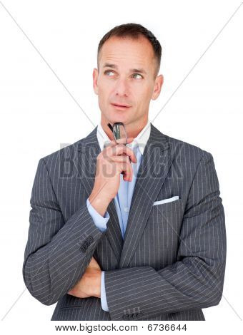 Mature Businessman Holding Glasses