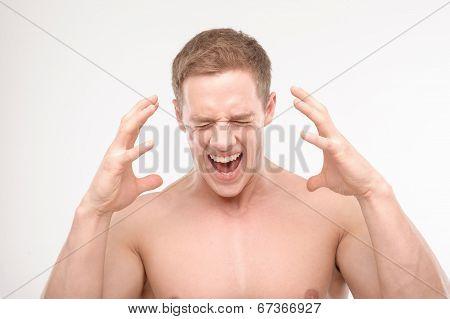Screaming athlete