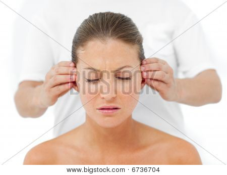 Relaxed Woman Having A Head Massage