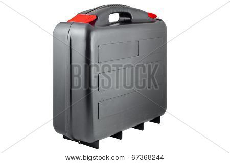 Plastic black toolcase with red tabs