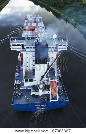 Beldorf - Exhaust Fumes Of Container Vessel At Kiel Canal