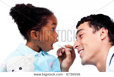 Charming Doctor Taking Little Girl's Temperature