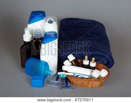 Big set of man's cosmetics and terry towel
