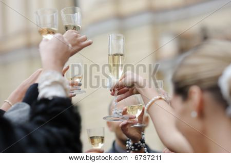 Wedding Celebration With Champagne