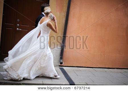 Bride are walking