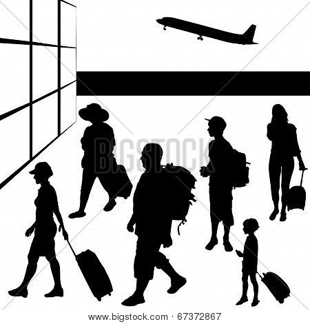 Silhouettes of travelling people.