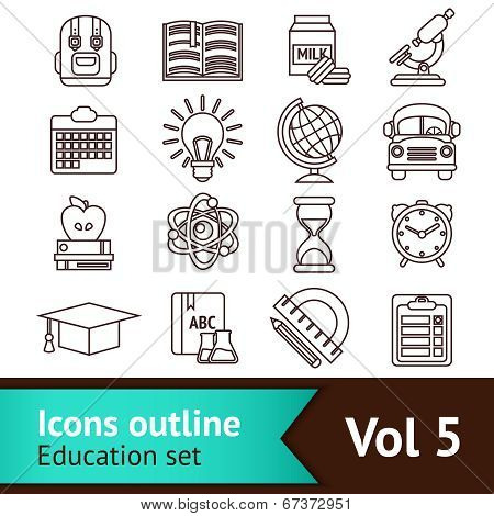 Education Icons Outline