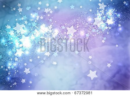 Abstract background image of blue stars, lights and beams