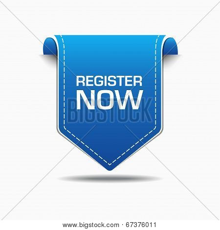 Register Now Blue Label Icon Vector Design