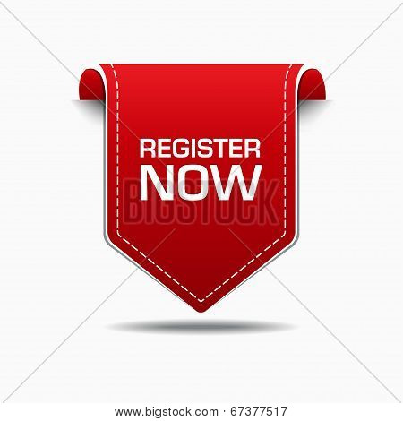 Register Now Red Label Icon Vector Design