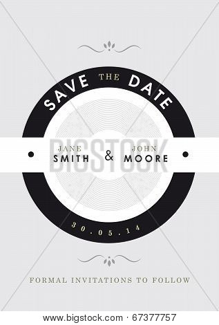 Save the date invitation black and grey theme