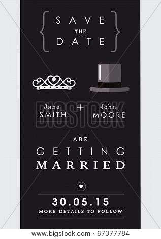 Save the date invitation mr and mrs theme