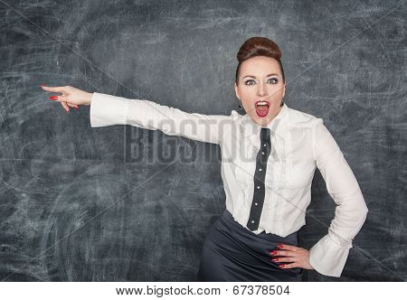 Angry Screaming Teacher Pointing Out