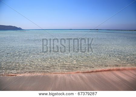 Pink sand beach with crystal waters Elafonisi Crete