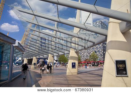 LONDON, UK - MAY 18, 2014: South Greenwich, square in front of O2 arena