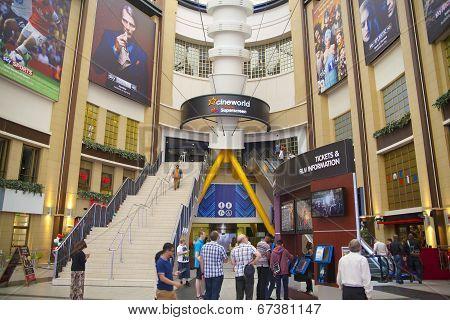LONDON, UK - MAY 18, 2014: O2 Arena, hall with cinema entrance